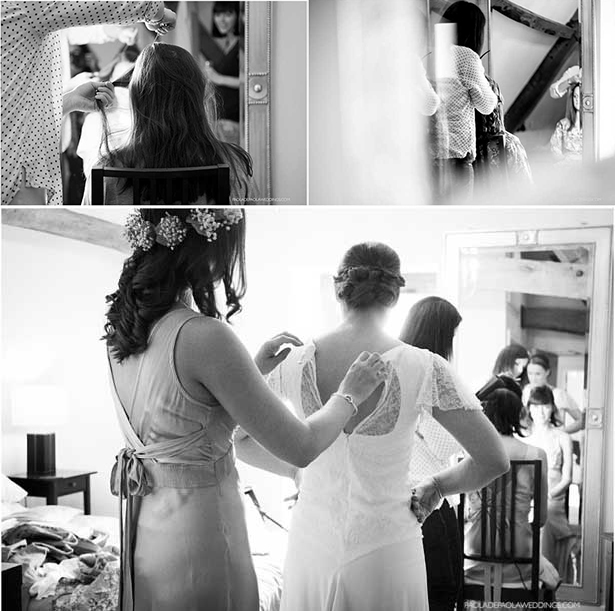 The bride and bridesmiad getting ready | Lauren and David's real wedding | Confetti.co.uk