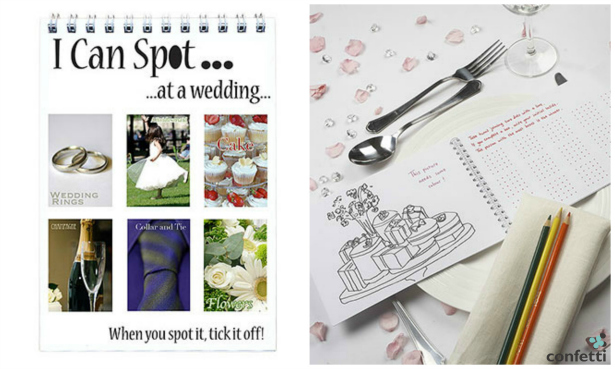 Colouring activity pads for children at wedding receptions from Confetti.co.uk