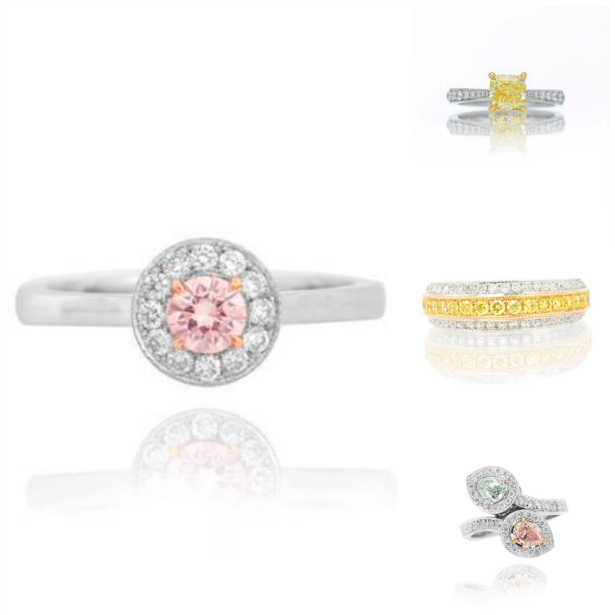 Natural Fancy Coloured Diamond Wedding Rings and Bands | Confetti.co.uk