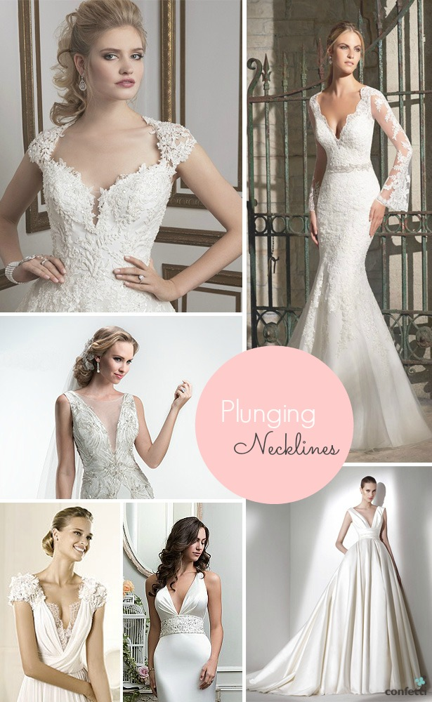 Wedding dresses with plunging necklines | Confetti.co.uk