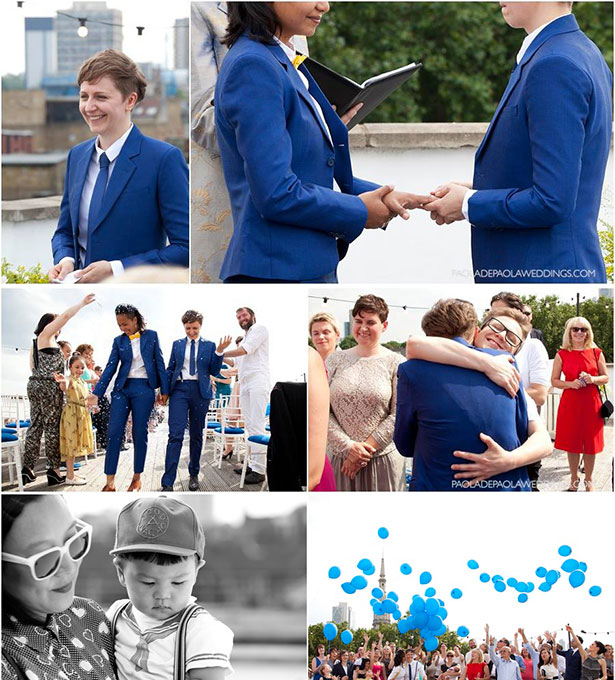 Blue,Same sex roof top wedding | Outdoor wedding ideas | Blue, white and yellow wedding ceremony and recpetion at Perseverance Works | Alex and Audrey's real wedding | Confetti.co.uk