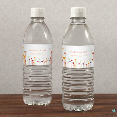 Personalised water bottle labels from Confetti.co.uk