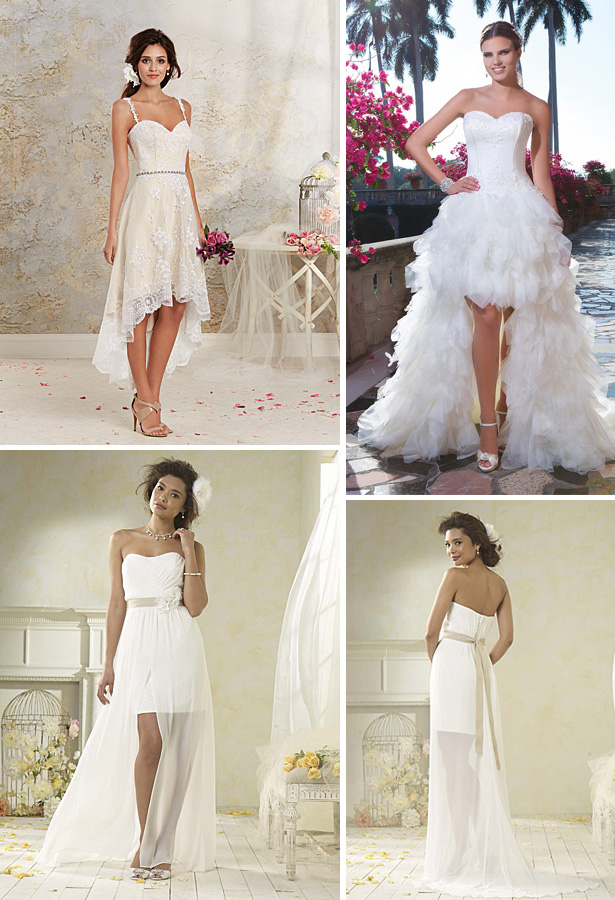 knee length wedding dresses with a train