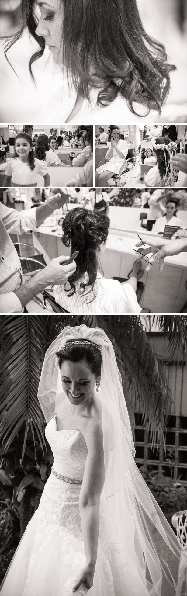 The bride getting ready at a salon with her bridal party |Claudia and Felipe's Intiamte Wedding