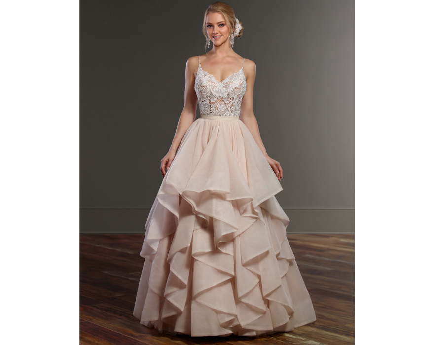 Bridal separates with pink skirt