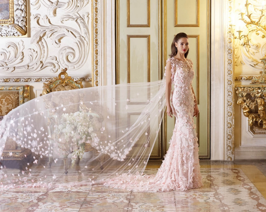 3D Floral wedding dress with cape