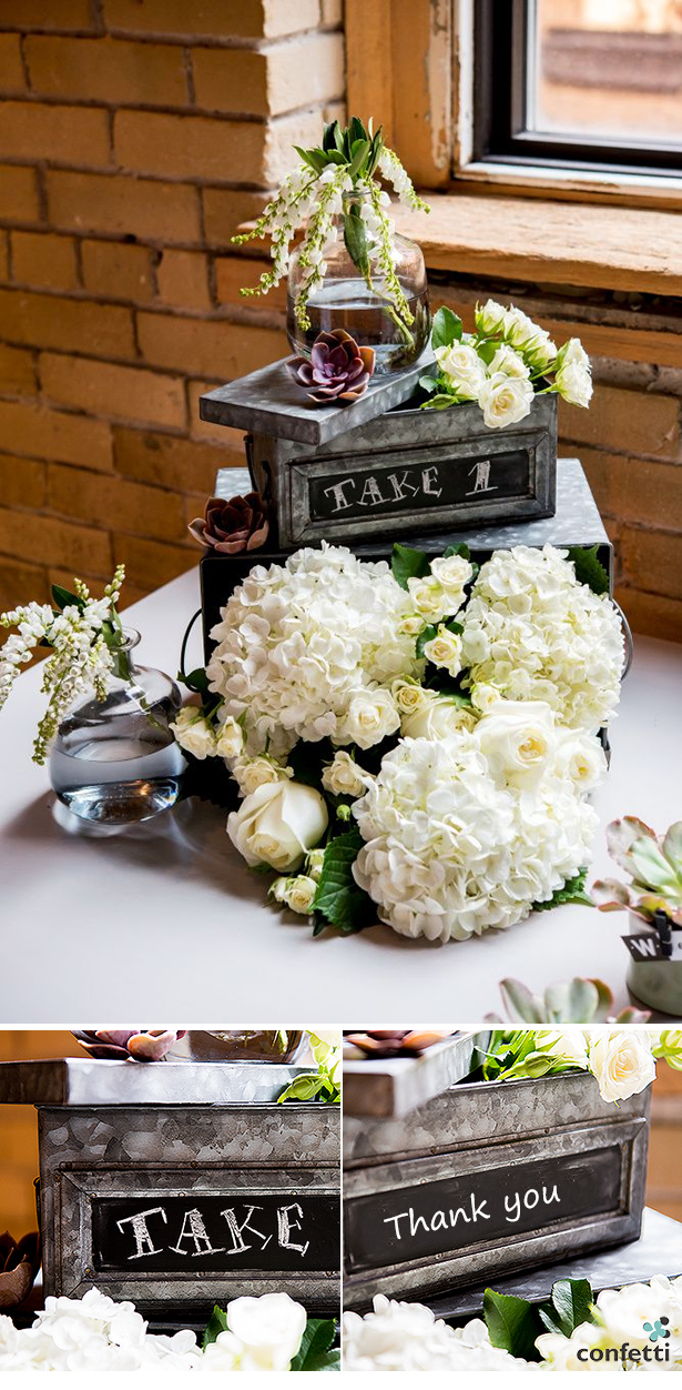 6 must have items for your chic city wedding | urban centerpiece made from tin ad chalk boxes
