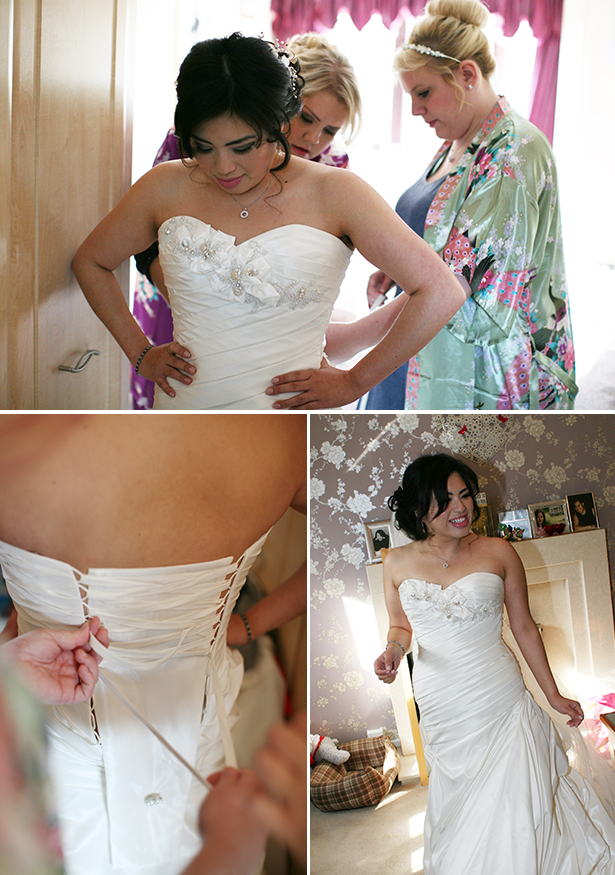 Bridesmaids helping the bride get readying | Sophie & Chris's real wedding | Confetti.co.uk