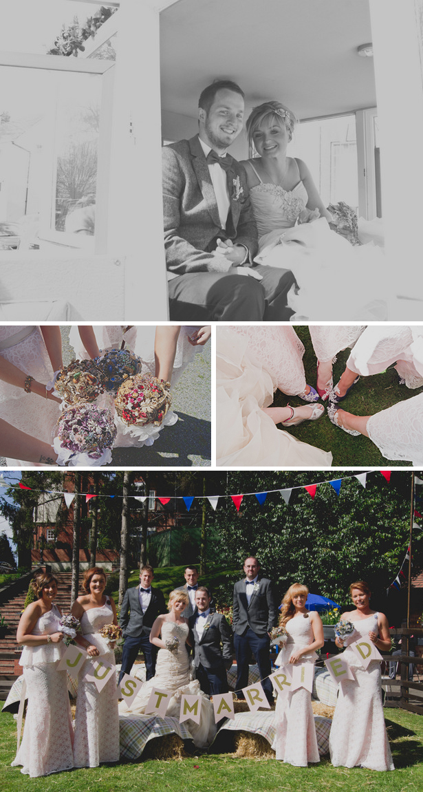 Handmade brooch wedding bouquets | Handmade personalised bridesmaids shoes | Georgina and Edward's real wedding | Confetti.co.uk