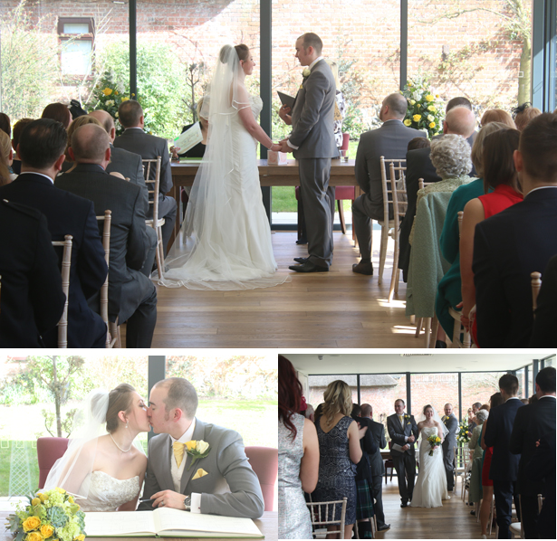 Wedding ceremony at Norfolk Mead Hotel | Lynn and Mark's Grey and Yellow wedding | Confetti.co.uk