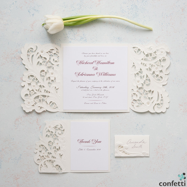 Lace Opulence Lacer Embossed Invitations