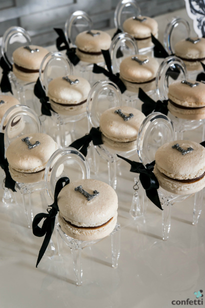 Macarons on plastic chairs for a wedding | Confetti.co.uk
