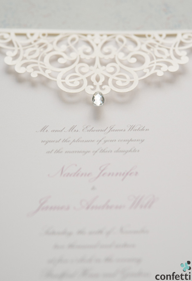 Vintage lace invitations and wedding dresses for Pearl wedding invitations