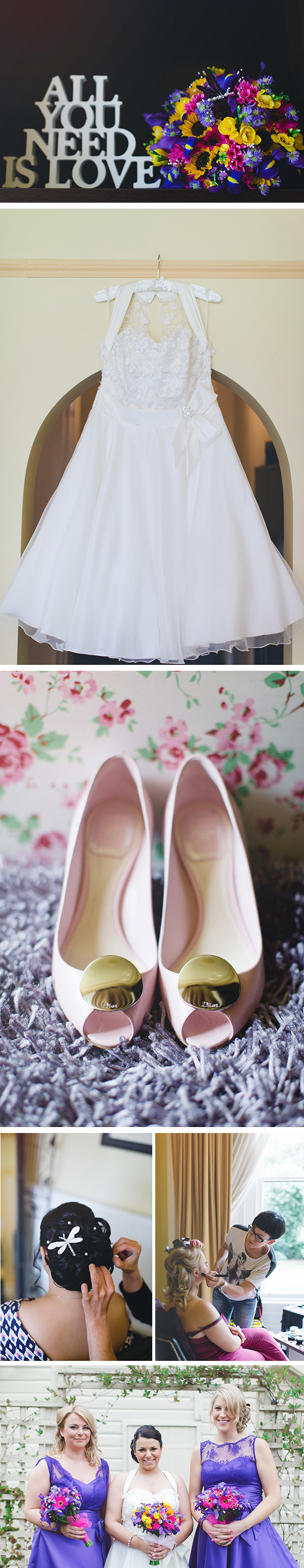 50's inspired short wedding dress | Pink and gold bridal shoes | Katie and Ian's real wedding | Confetti.co.uk