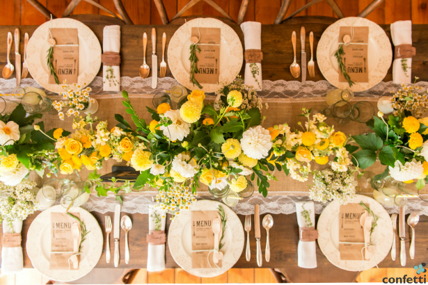 Rustic themed wedding breakfast from Confetti.co.uk