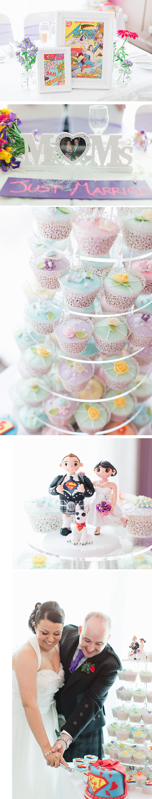 Superhero themed wedding decor | Superhero themed cake toppers and pastel coloured cupcakes | Katie and Ian's real wedding | Confetti.co.uk