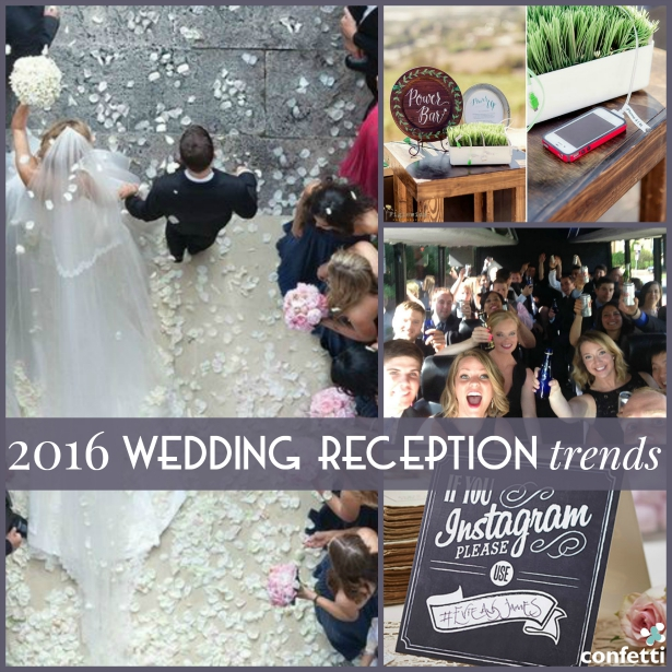 From selfie sticks to aerial wedding photography, keep an eye out for these 2016 wedding reception trends. | Confetti.co.uk