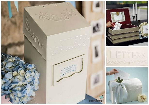 Wedding Gift List Alternatives : From left: Special delivery letter box Stacked antique book box ...