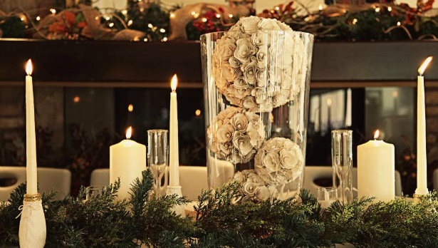 Rustic pine boughs and silver accents make for a perfect winter wedding decor | Confetti.co.uk
