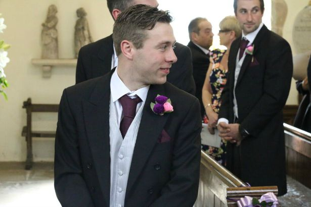 Groom in church at Jess and Ryan's real wedding | Confetti.co.uk