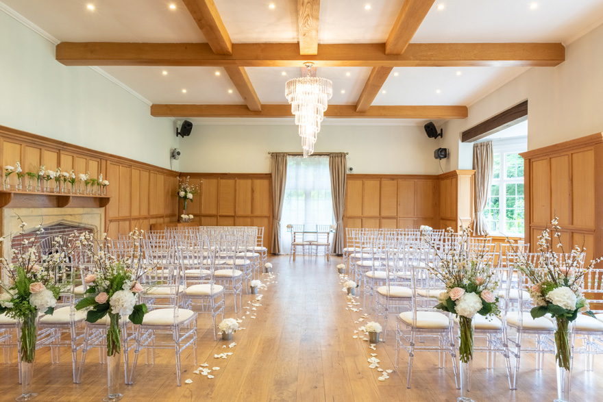 Wedding Aisle Lined with Flower Petals - Luxury Wedding Ceremony Set Up at Silchester House - Bijou Wedding Venue in Berkshire   Confetti.co.uk