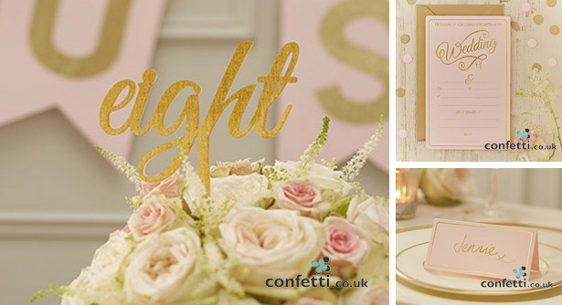 Gold cut out table numbers with matching decor