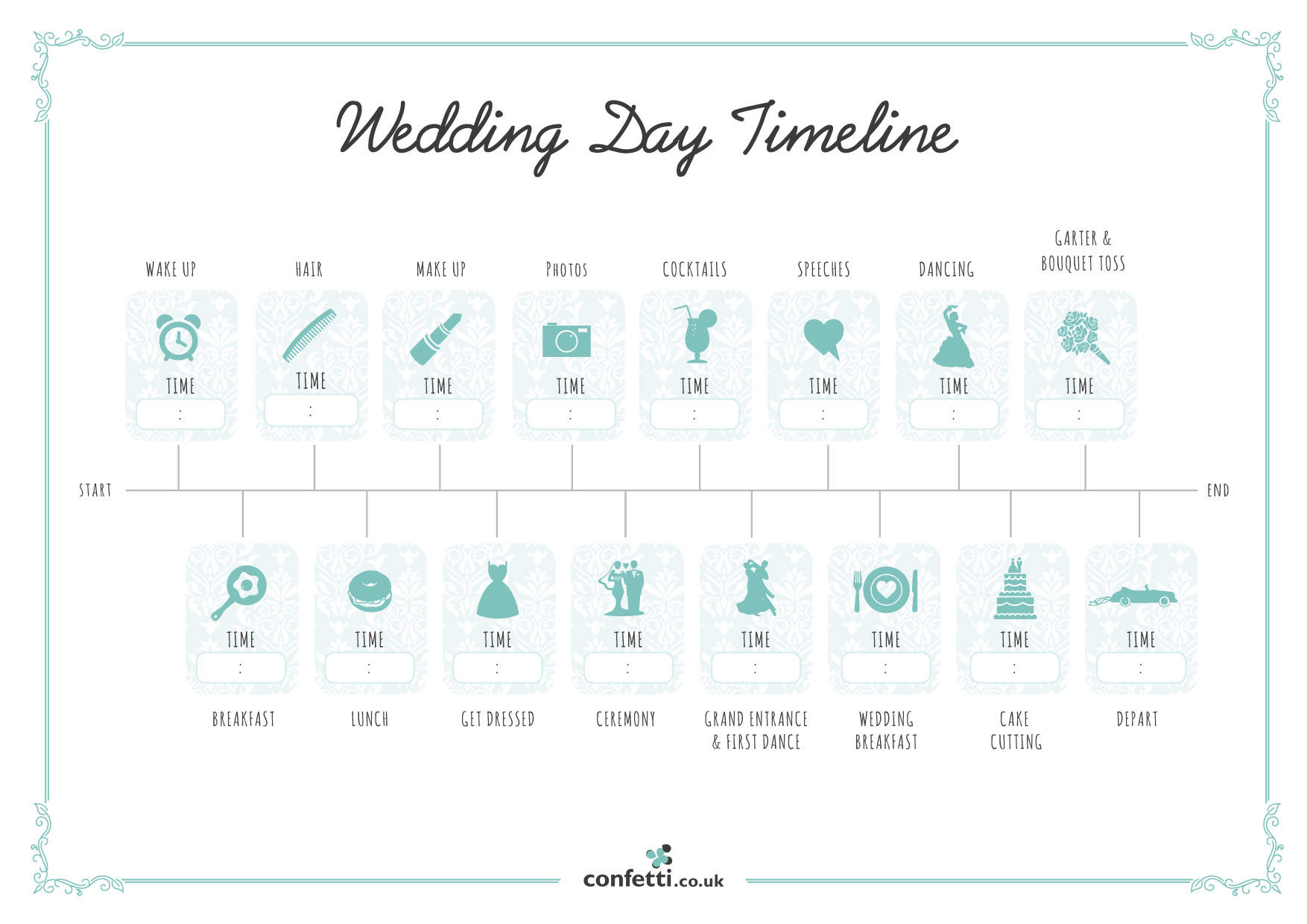 Wedding day timeline free printable guide confetti junglespirit Images