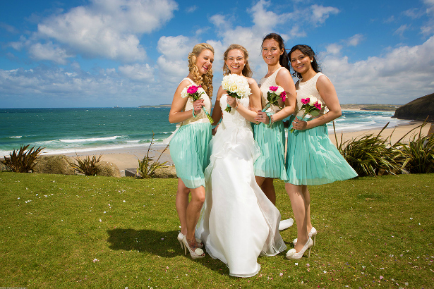 Bride and her bridesmaids at her big day at the stunning Carbis Bay Hotel & Estate.