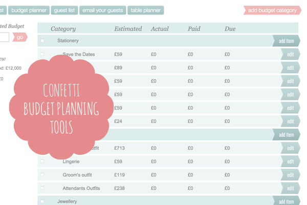 How to create a wedding budget for Online planning tool