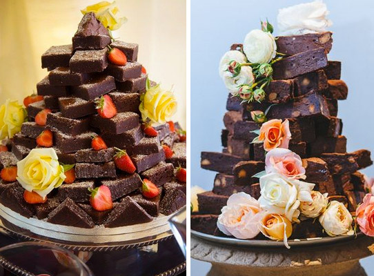 Brownies pyramid alternative wedding cake