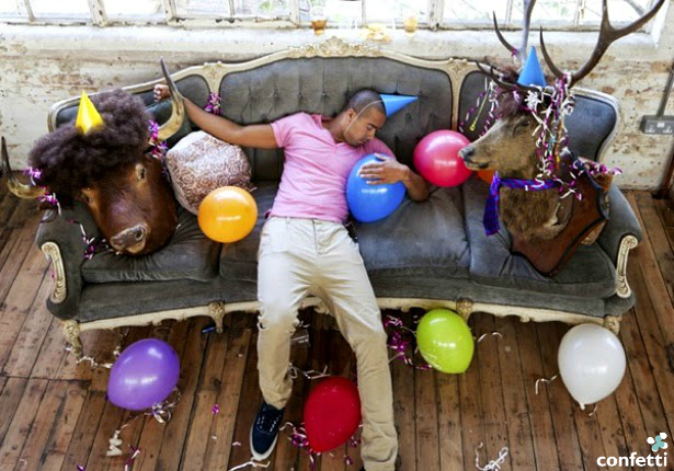 Man passed out after a party   Confetti.c.uk
