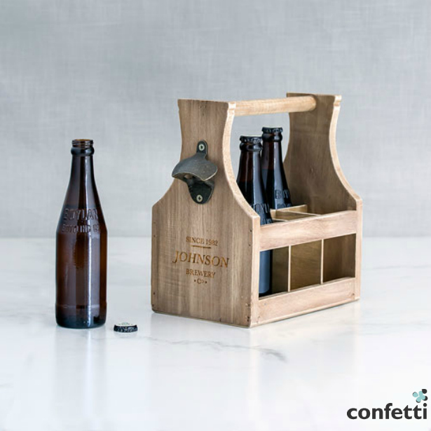 Wood Bottle Caddy With Opener | Confetti.co.uk