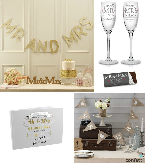 Mr and Mrs Wedding Gifts   Confetti.co.uk