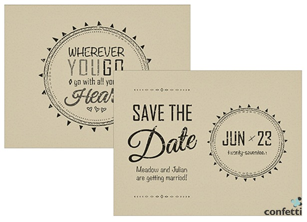 Free Spirit save the date card | Confetti.co.uk