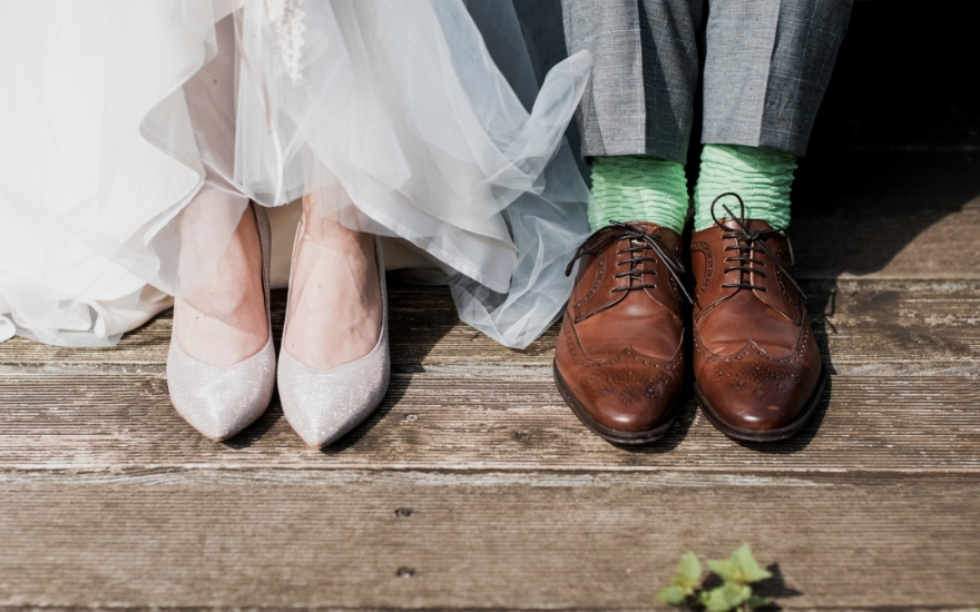 bride in new wedding shoes
