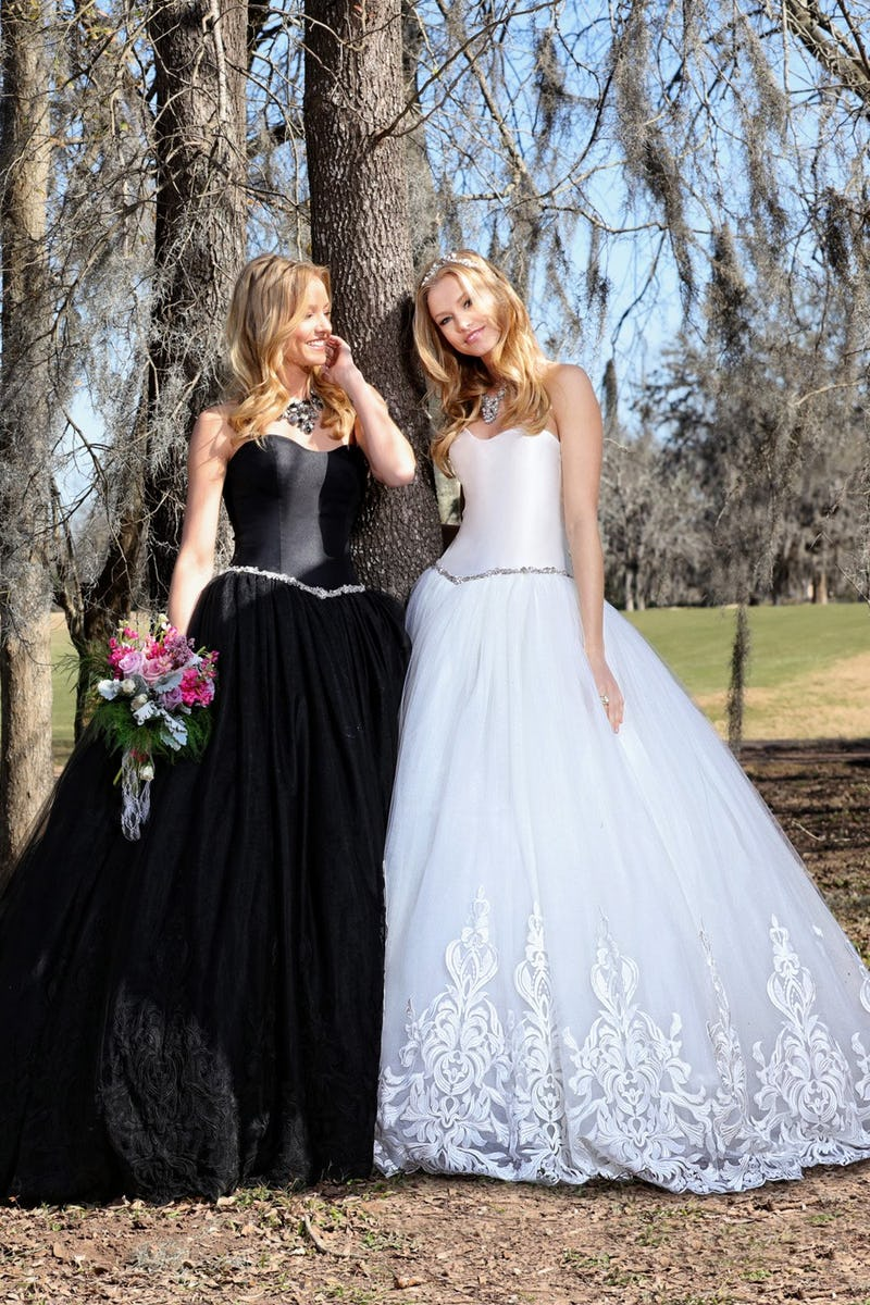 Black and white ballgowns by Ashley and Justin Bride   Confetti.co.uk
