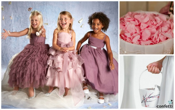 Flower girl dresses by Alfred Angelo, baskets and petals by Confetti   Confetti.co.uk