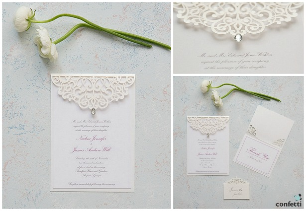 Pearl Romance invitations  | Confetti.co.uk