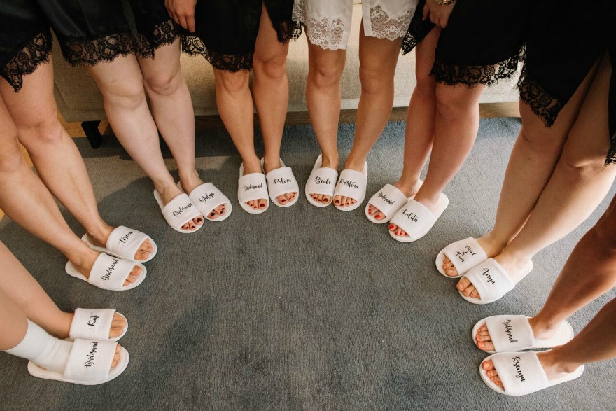 Bride's and bridesmaids slippers at Kristina and Max's wedding | Confetti.co.uk