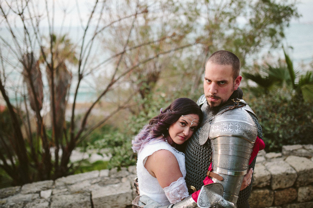 Groom in a suit of armour medieval wedding | Confetti.co.uk