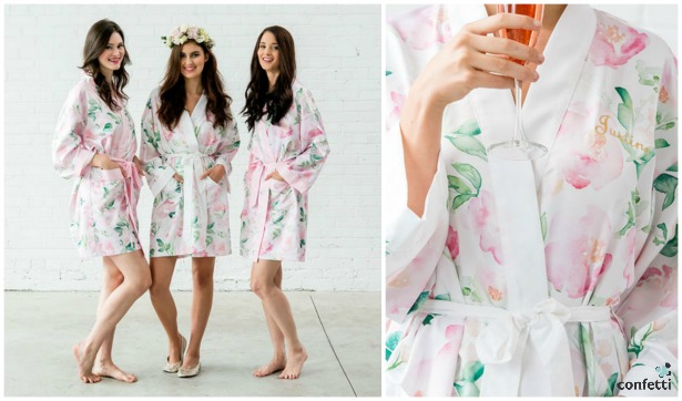 Watercolour Floral Silky Kimono Robe | Confetti.co.uk