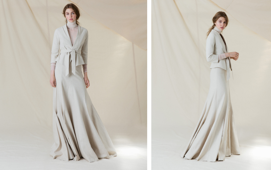 high necked wedding dress with suit jacket