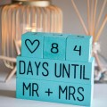 Building blocks representing a wedding countdown
