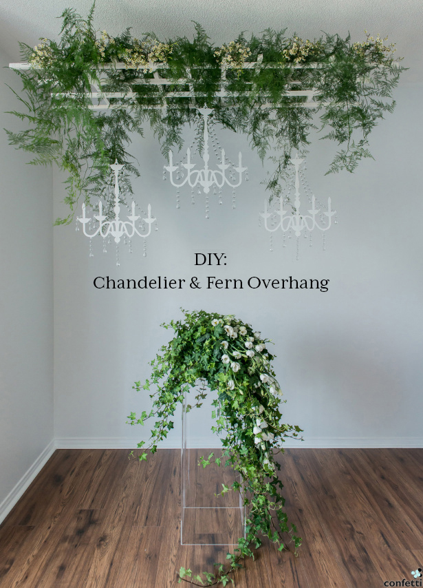 DIY Rustic Chandelier and Fern Overhang | Confetti.co.uk