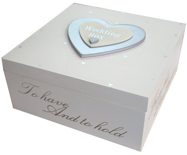 Silver Heart Wooden Wedding box | Confetti.co.uk
