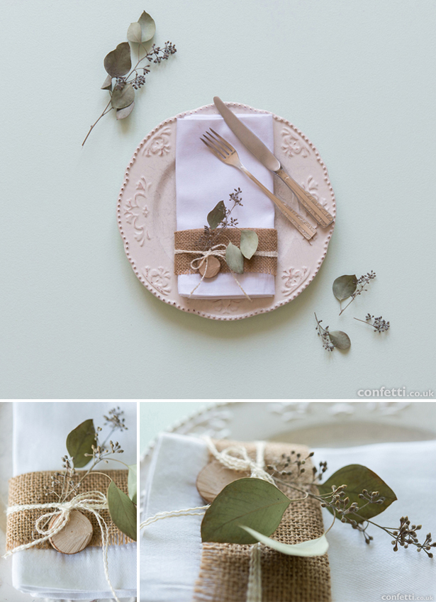 DIY burlap rustic woodland place setting | Confetti.co.uk