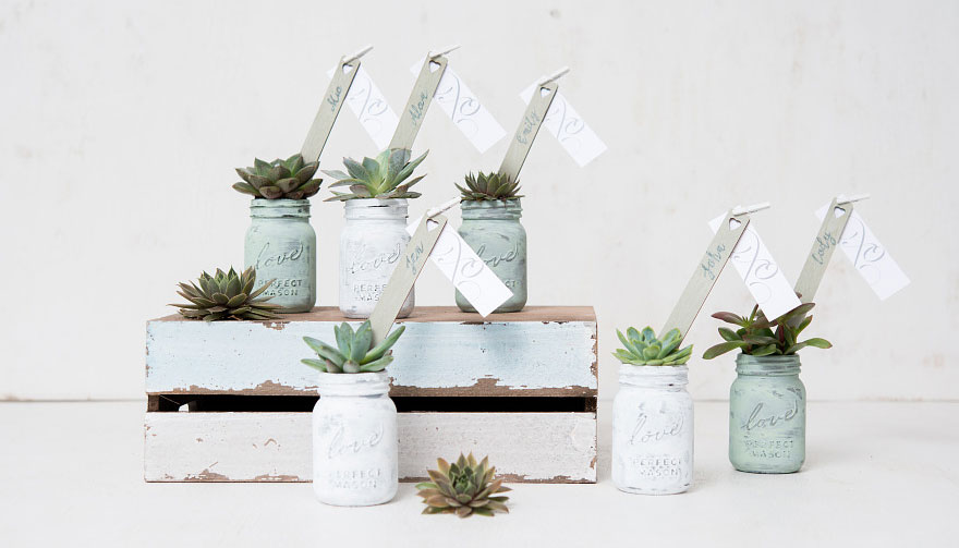Diy Succulent Mini Mason Jar Wedding Favours Confetti