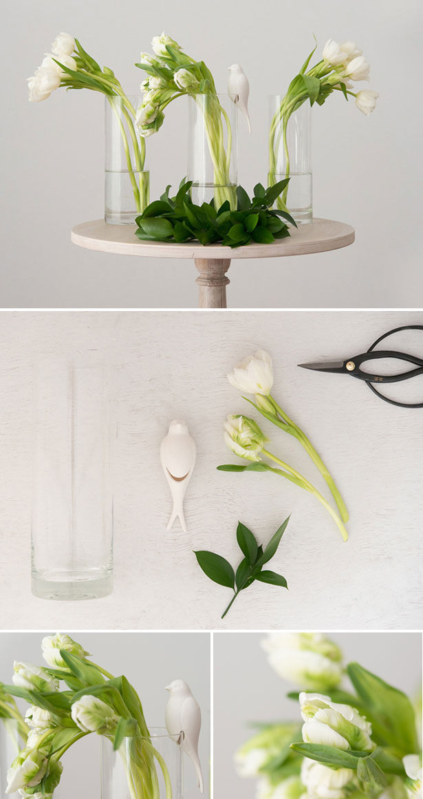Perching white ceramic bird and glass vase | Confetti.co.uk