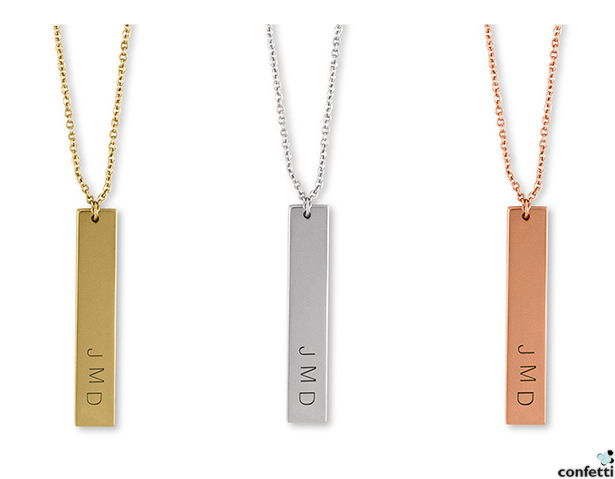 Personalised Vertical Rectangle Tag Necklace | Confetti.co.uk