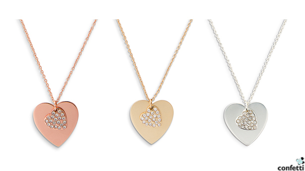 Crystal Double Heart Necklace | Confetti.co.uk